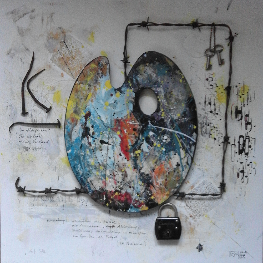 Bloß Sitte 50 x 50cm Collage auf Platte