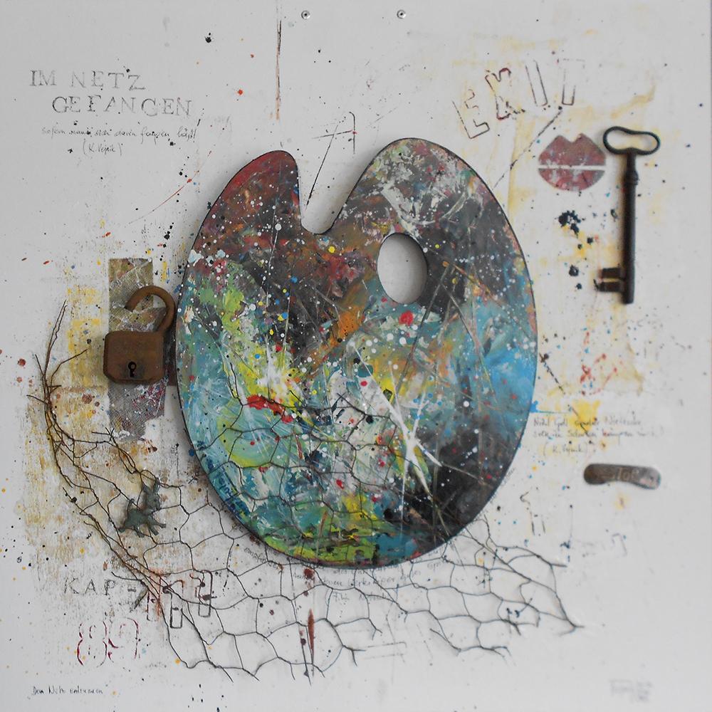 Dem Netz entrunnen 50 x 50cm Collage auf Platte