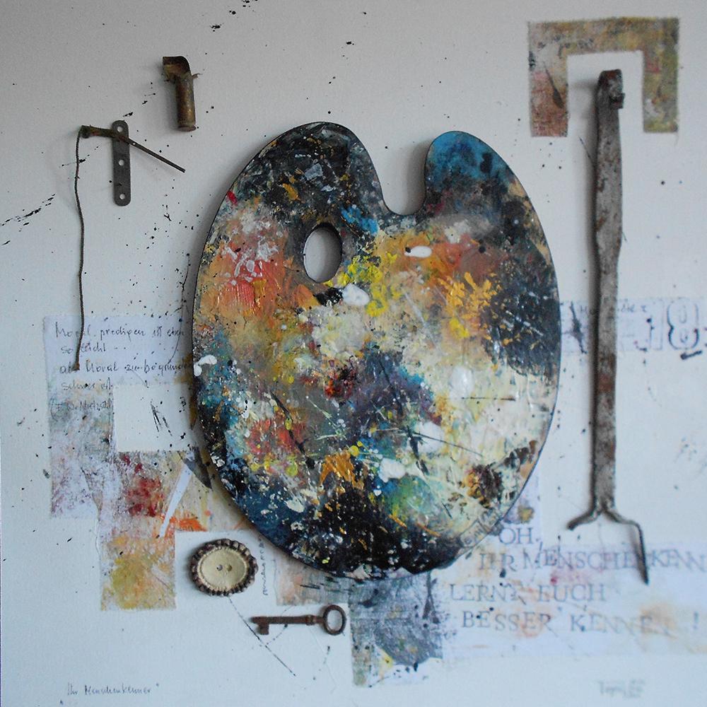 Der Menschenkenner 50 x 50cm Collage auf Platte