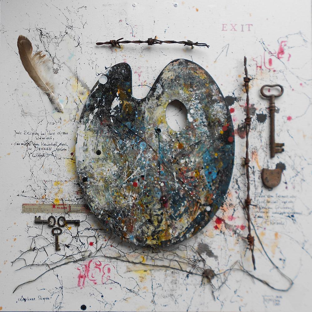 Erloschene Skepsis 50 x 50cm Collage auf Platte