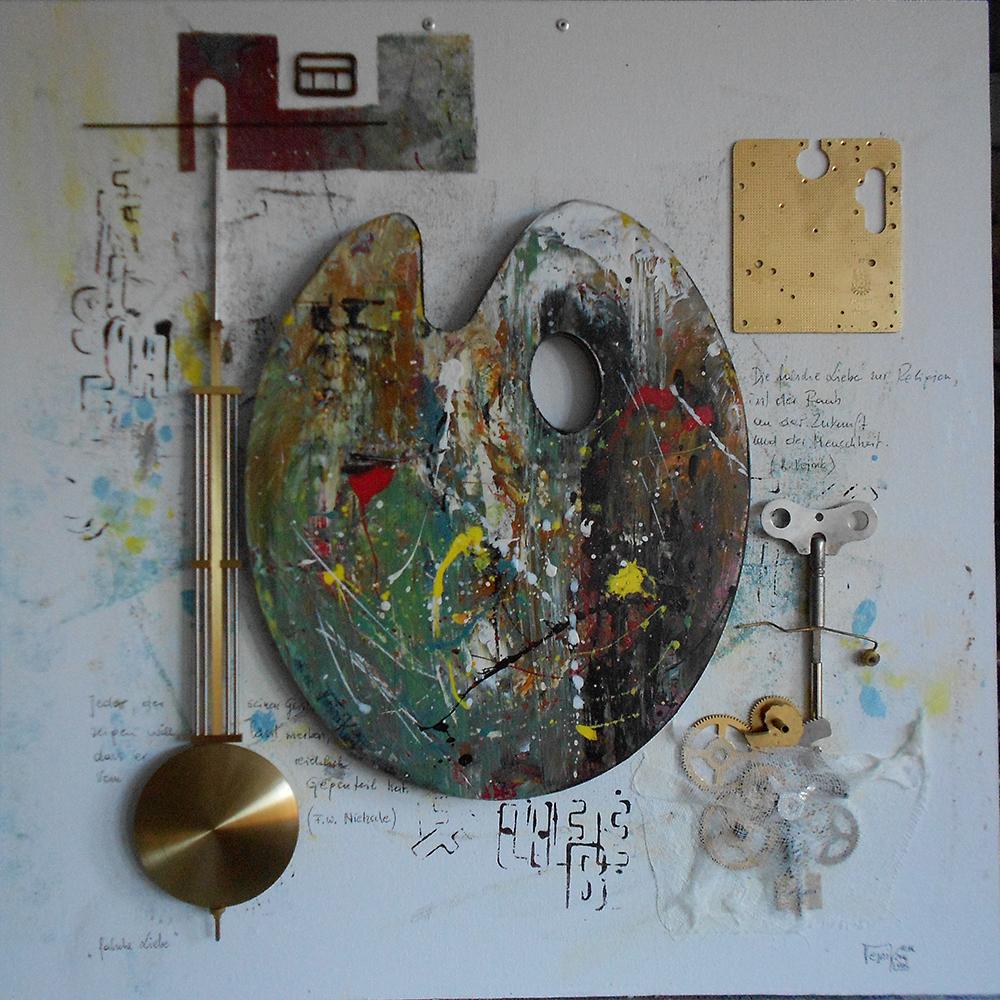 Falsche Liebe 50 x 50cm Collage auf Platte