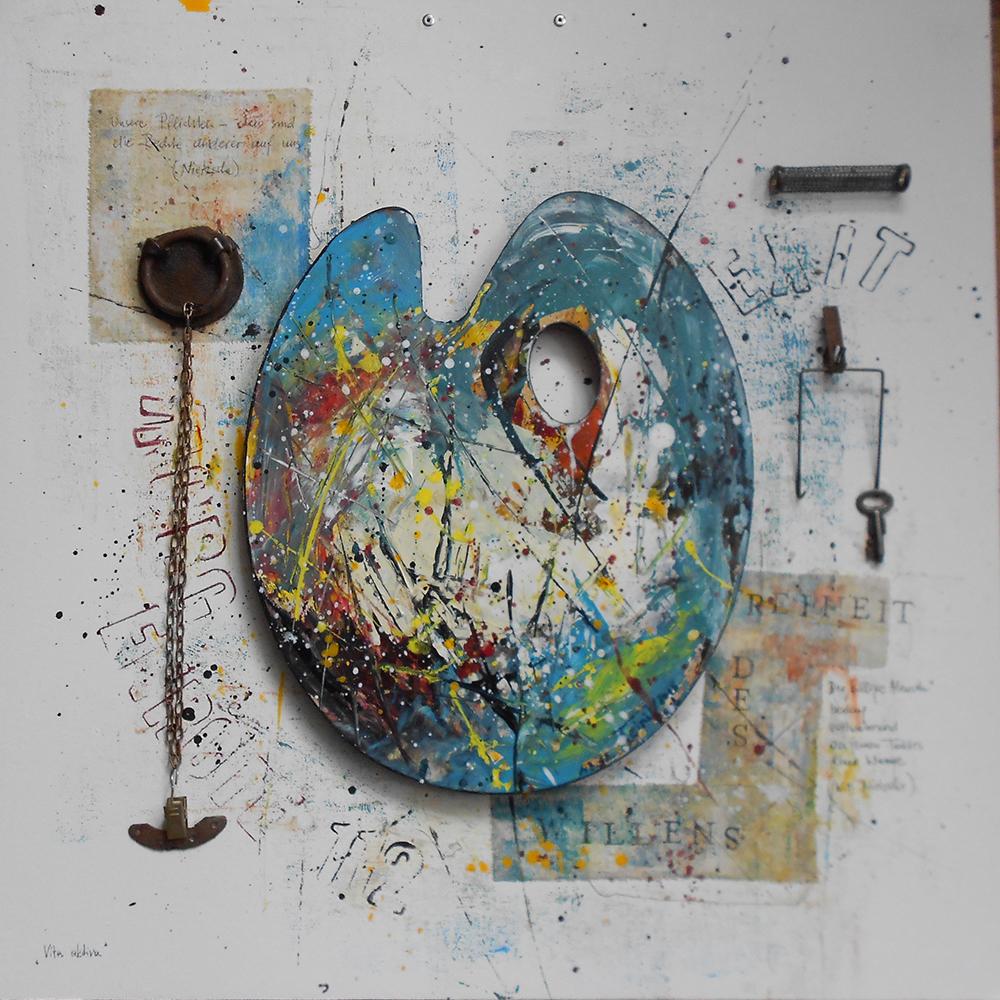Vita aktiva 50 x 50cm Collage auf Platte