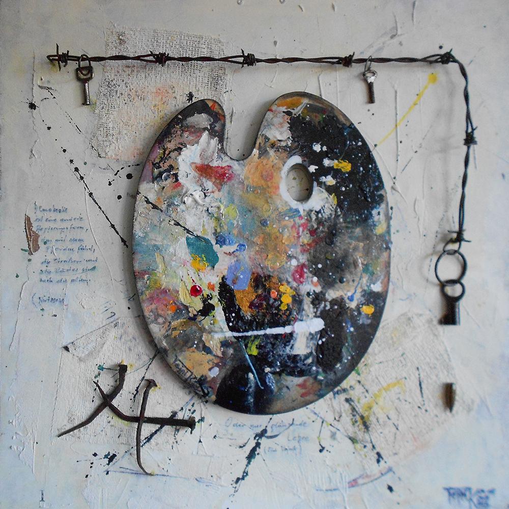 oder nur glänzende Lee(h)re 50 x 50cm Collage auf Platte